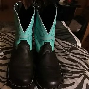 Justin Turquoise And Black Gypsy Boots Size 10